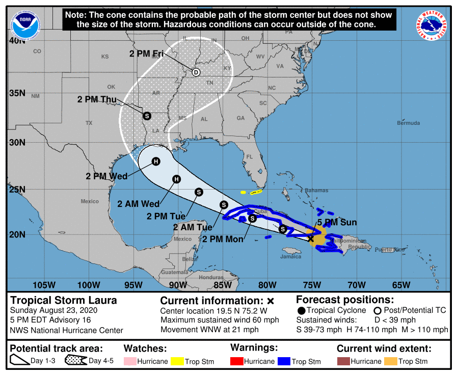Update on Tropical Storm Laura and Hurricane Marco